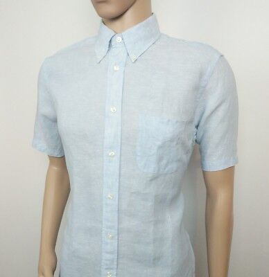 Brooks Brothers Mens Shirt Pure Linen Regent Fitted Blue UK S , US M New RRP£215