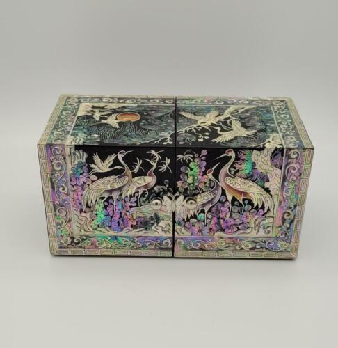 Handmade Korean Black Lacquer Fold Out Jewelry Box MOP Inlay Butterfly Samsung