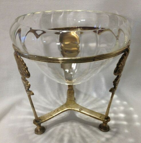 """Vintage Brass Stand & Glass Bowl Seashell Motif/Plant/Potpouri/Candle/7.75"""" Tall"""