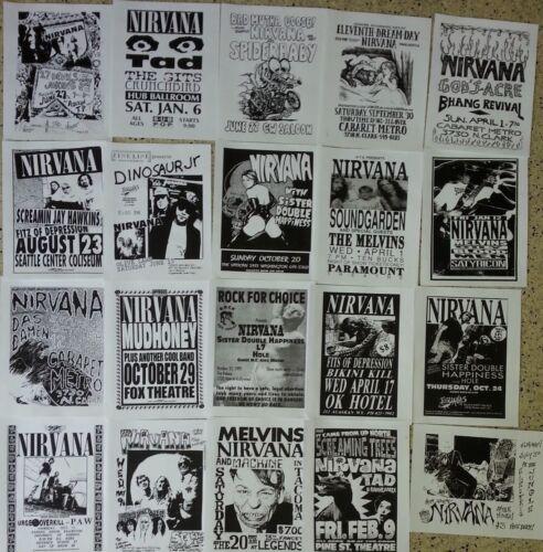 NIRVANA 20 flyer set, repro 8.5x11, Punk Flyers, KURT COBAIN, DAVE GROHL, SUBPOP