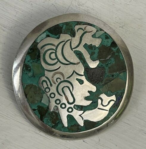 Vintage Sterling Silver YR Taxco Mexico Mayan God Brooch Pin Pendant Turquoise