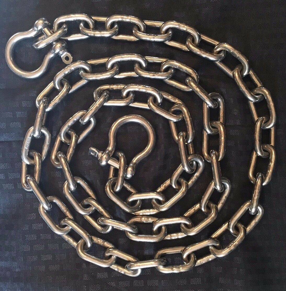 "Stainless Steel 316 Anchor Chain 5/16"" (8mm) by 8' long with quality shackles"