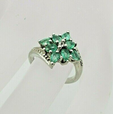 Sterling Emerald Cluster Ring- Size 6- TGGC 925- Tension Setting- Eternity