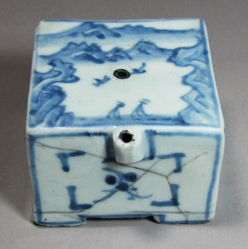 Korean Blue and White Square Water Dropper-19th C.: