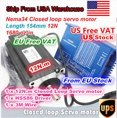 At Usa 12n.m Servo Motor Nema34 Closed Loop 154mmhss86 2-phase Driver Cnc Kit