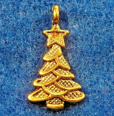 50Pcs. WHOLESALE Tibetan Antique Gold CHRISTMAS TREE Charms Earring Drops Q0580
