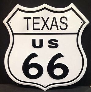 Texas Route 66 Shield Vintage Steel Sign Plaque