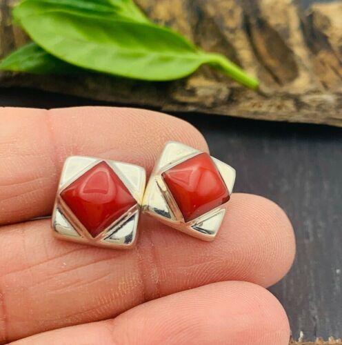 Taxco Mexico 925 Sterling Silver Studs Posts Earrings Dark Red/Orange Jasper