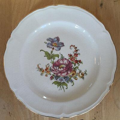 Vintage Cunningham & Pickett Plate Lotus Pattern Mid Century Floral Gold Rim Mid Rim Plate