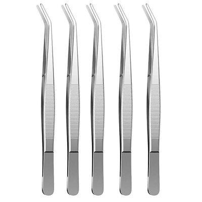 5x Dental Tweezer Dentist Tweezers Serrated Angled Forceps Tweezers Beak Pliers