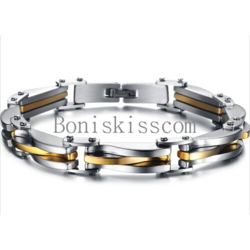 Two Tone Stainless Steel Men's Chain Link Bracelet Wristband