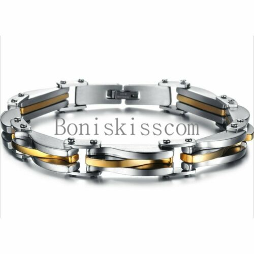 """Jewellery - Two Tone Stainless Steel Men's Chain Link Bracelet Wristband Cuff Bangle 8.66"""""""