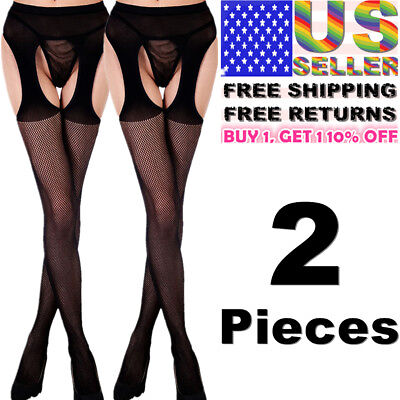 Striped Pantyhose (Women Garter Belt Stay Up Fishnet Thigh High Stocking Sock Tights Lace)