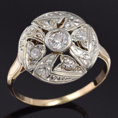 Antique 14K Yellow Gold 0.29 TCW Old Euro Diamond Art Deco Band Ring Size 8