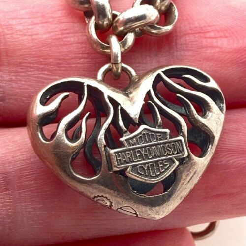 """Harley-Davidson Cycles Sterling Silver Flaming Heart Rolo Chain Bracelet 7.25"""""""