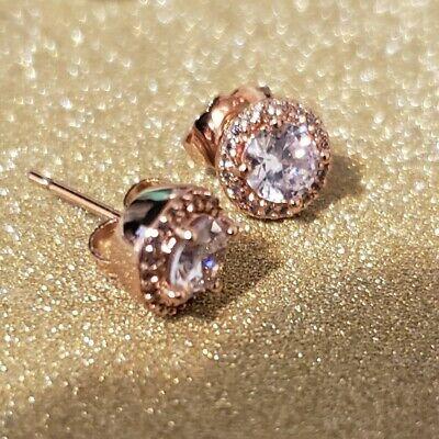 Pandora Classic Elegance Rose Gold Stud Earrings With Clear CZ 286272CZ (Elegant Earrings Classic Earrings)