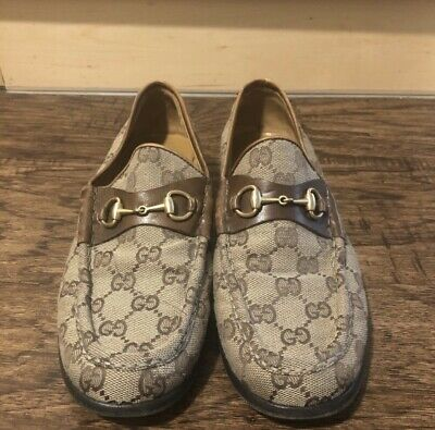 Gucci Authentic Vintage 90s Classic GG Logo Horsebit Loafers Tan 7.5