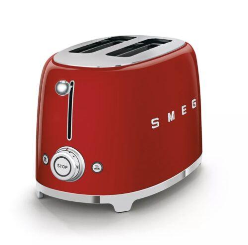 SMEG 2Schlitz Toaster TSF01 Rot, Retro Design im Stil der 50er Jahre, Neuware