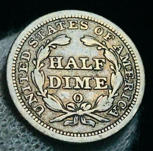 1857 O Seated Liberty Half Dime 5C High Grade XF Date 90% Silver US Coin CC2295