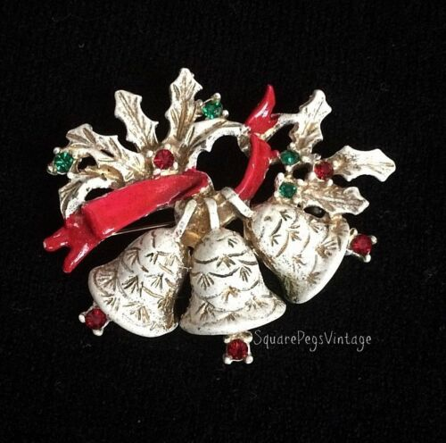 Vintage DODDS Christmas Bells & Rhinestones Pin Brooch Signed Collectible