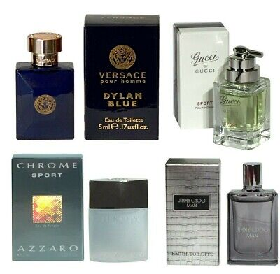 Miniature Jimmy Choo Gucci Sport Versace Azzaro Aftershave Men Loose set of4