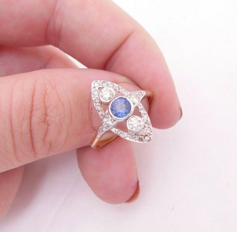 18ct gold sapphire diamond ring, art deco design cluster