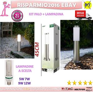 LAMPADA-PALO-DA-GIARDINO-PER-ESTERNI-ACCIAIO-INOX-ILLUMINAZIONE-A-LED-45-CM