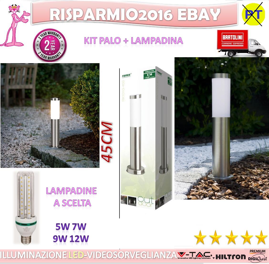 LAMPADA PALO DA GIARDINO PER ESTERNI ACCIAIO INOX ILLUMINAZIONE A LED 45 CM