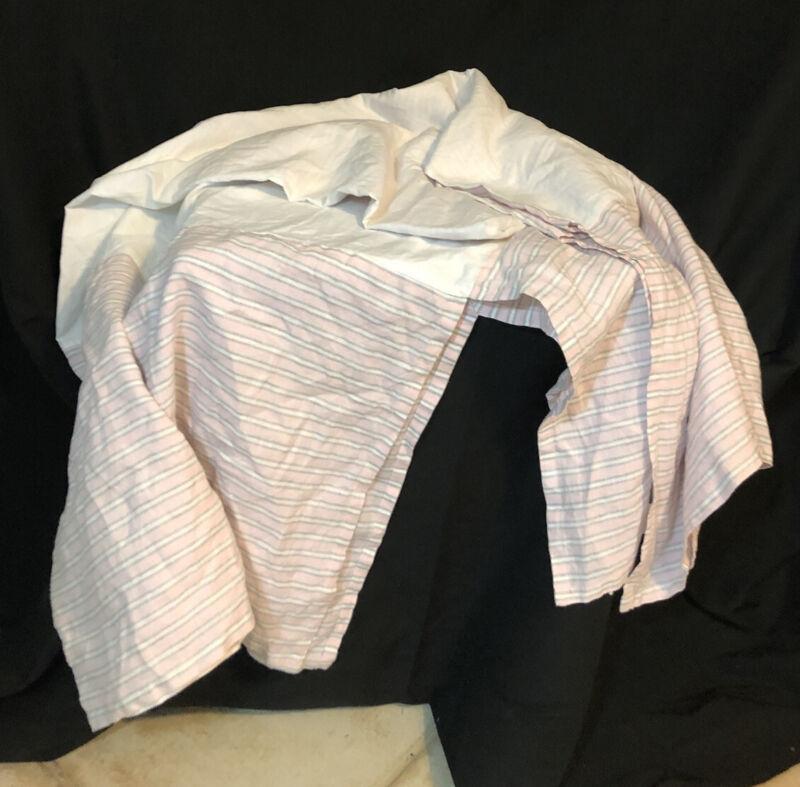 Pottery Barn Pink Gray Striped Linen Bed Skirt Dust Ruffle