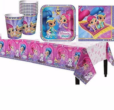 Shimmer and Shine Girls Birthday Party Pack~ Cup Plates Napkins Table Cover 33pc](Party Plates And Cups)