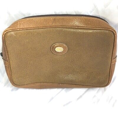 GUCCI Plus Auth Vintage Browns Logos Leather Canvas Cosmetic Clutch Bag 70's!