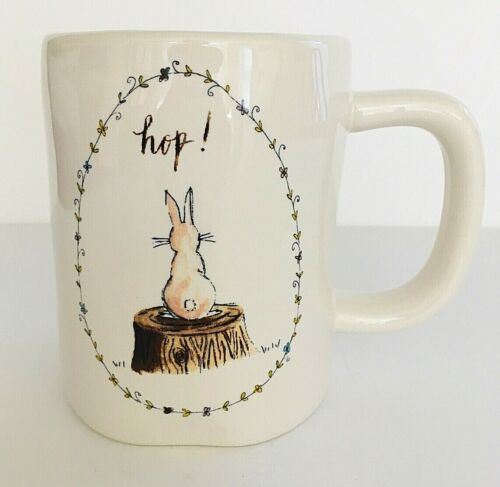 New Rae Dunn Magenta Hop White with Bunny Rabbit 16 oz Ceramic Mug Easter