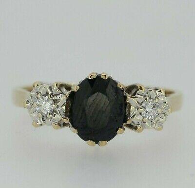 9ct Yellow Gold Sapphire & Diamond Ring Size O