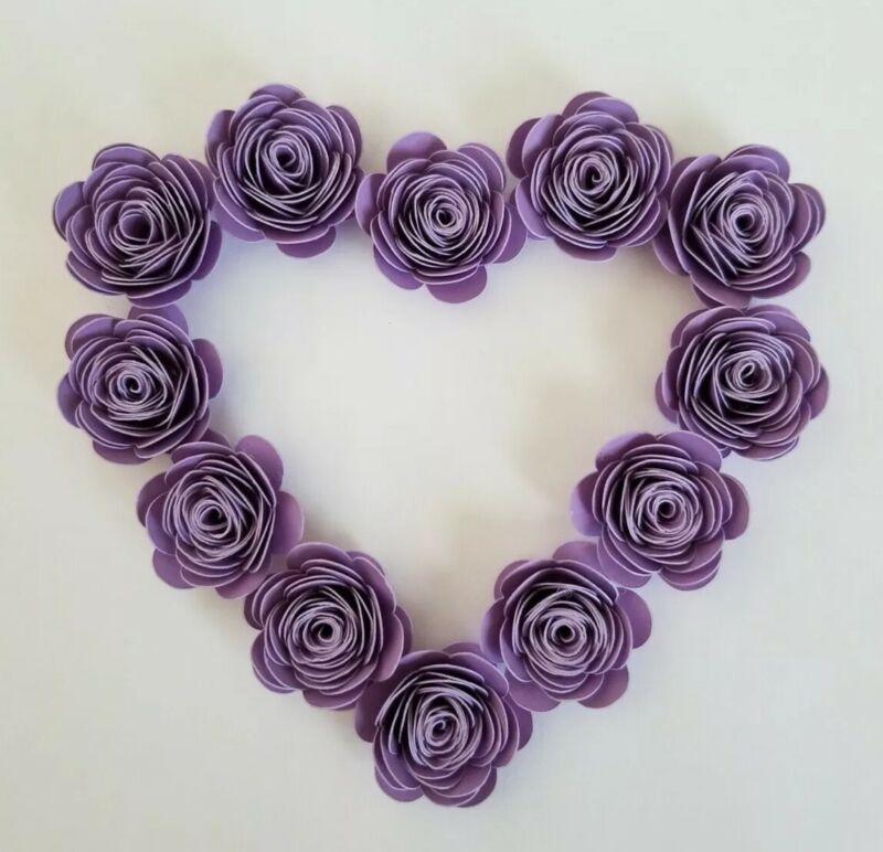 Mini Purple Paper Roses, 100% Handmade, Pack of 12