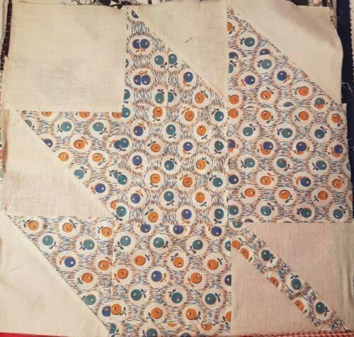 """15 ANTIQUE Maple Leaf Quilt Blocks c 1930 ~ 15"""" ~ Multi-Colored"""