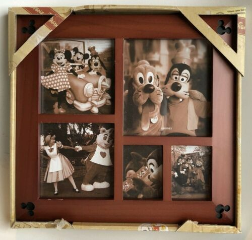 NIB DISNEY PARKS 5 PICTURE COLLAGE CHERRY WOOD FRAME MICKEY MOUSE (I)