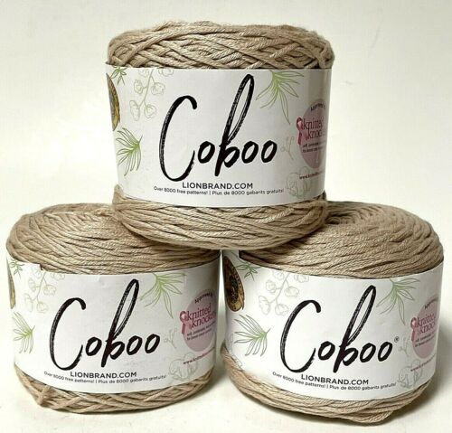 Lion Brand Coboo Tan 3.5oz Lightweight Yarn Lot Of 3