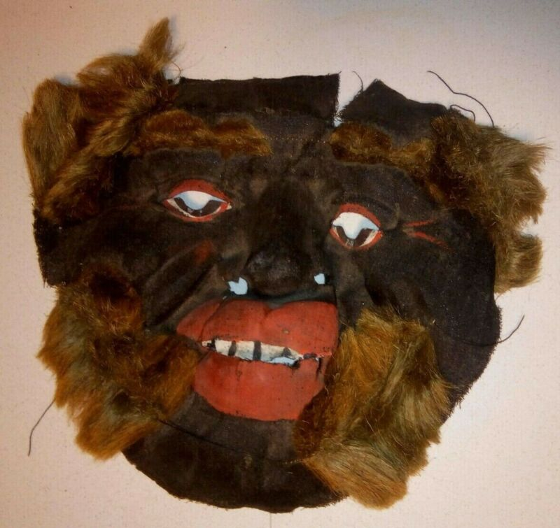 Rare Early 20th Century Black Face Halloween/Theatre Mask Decorated w/Real Hair