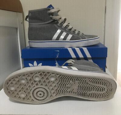 Mens Adidas Nizza Grey Blue Mid Hi Top Trainer  Size 10.