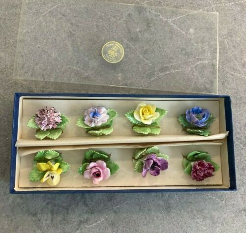 "8 VINTAGE-ROYAL ADDERLEY-ENGLAND ""FLORAL""Place Card Holders BONE CHINA"