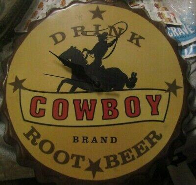 "VINTAGE DRINK COWBOY BRAND ROOT BEER BOTTLE CAP CLOCK 14 3/4"" ROUND"