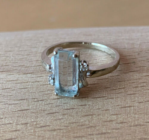 VINTAGE14K WHITE GOLD PASTEL AQUAMARINE DIAMOND ENGAGENT RING  EUROPEAN HALLMARK