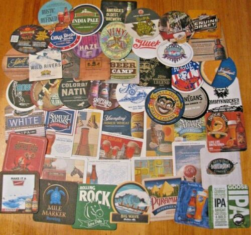 50 New US Microbrew & Major Beer Coasters! No Dupes! Save on Lots! Only $11.99!