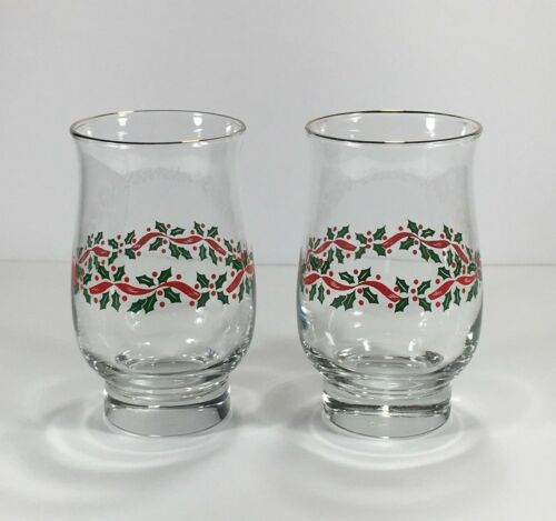Libbey Christmas Holiday Holly Berries Pedestal Tumbler Glasses Arby