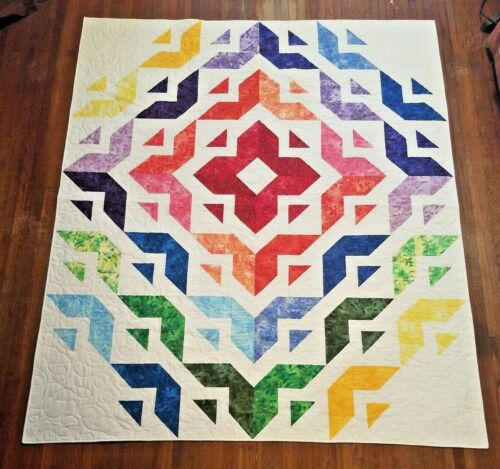 "NEW~All Roads Botanical Rainbow Diamond Patchwork Full/Queen Quilt 72"" x 84"""