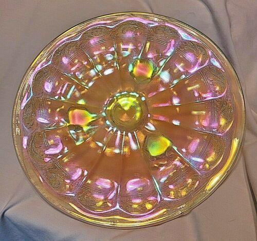 """Vntg Marigold Carnival Glass Iridescent Pedestal Feet Platter Plate 10.5"""" Edging"""