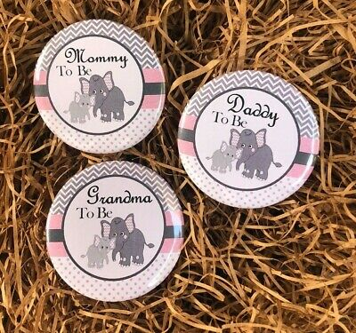 Pin/pin back button/ elephant baby /baby shower/ Pink elephant/ mommy to be