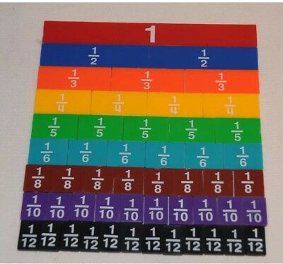 Rainbow Fraction Tiles ~ Math Manipulative ETA Cuisenaire 51 Tiles