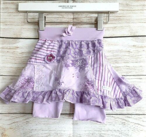Naartjie 3-6m lilac floral skirt with attached leggings, ruffle hem