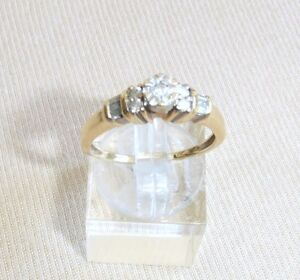 estate 14k yellow gold diamond cluster ring size 7 3/4 fine jewelry